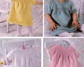 Four Vintage baby newborn knitting patterns baby girl dresses Leisure Arts 2249