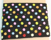 Cotton poly tape Black polka dot Japanese fabric tape ribbon