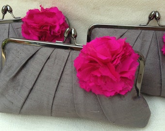 Precious Pleat Kisslock with SILK BLOOM- Bridal Clutch