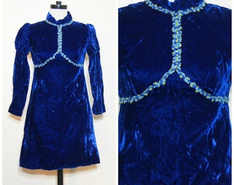 60s Blue Velvet Dress Floral Embroidery XS Small High Collar Metal Zipper