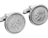63rd Birthday Gift- 1953 US 10 Cent Coin cufflinks-Free Silver Gift Box Included