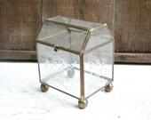 Vintage Glass Box Box with Bronze Edges - With Etched flower Detailing in the Glass - Rustic Shabby Chic Decor