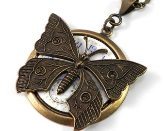 Steampunk Jewelry Gold Time Flies Antique Pocket Watch Face Pendant with Brass Victorian Butterfly - ON SALE