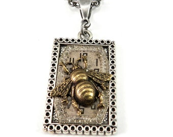 Steampunk Necklace Bee on Time Square Upcycled Clockwork Victorian Insect, Steampunk Jewelry by Compass Rose Design