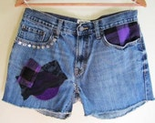Grunge Cutoff Denim Shorts Rocker Upcycled Nineties Blue Jean 90s Festival - Size Large