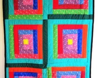 Modern Log Cabin Quilt Crib Wall Patchwork Geometric Contemporary Folk Art - 36 x 52 Inches