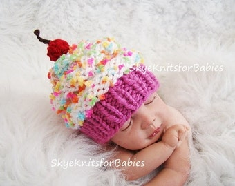 Baby Cupcake Hat, HandKnit Baby Hat, Cupcake Beanie, Newborn Girl Boy, Children Cupcake Hat, Newborn Photo Prop, Newborn Photography Prop