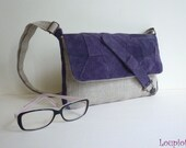 Small leather shoulder bag purple velvet and natural linen