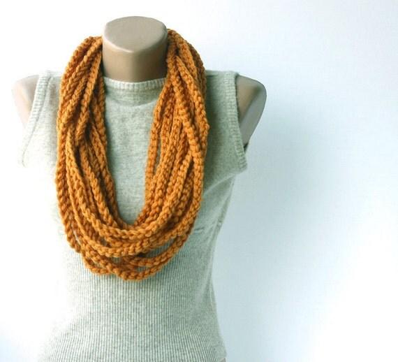 Orange infinity scarf Crochet scarf circle scarf loop cowl crochet neckwarmer gift under 25