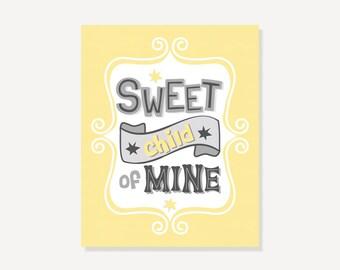 Wall Art Digital Print Giclee -  Sweet Child of Mine - Typographic Print Yellow Gray