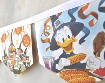 DONALD DUCK and the WITCH Banner Halloween Vintage Little Golden Book Bunting Paper storybook children Repurposed story book Decoration eco