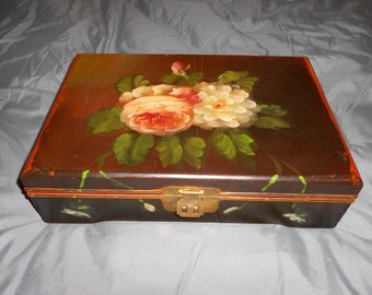 Rose Jewelry Box Wooden Tole Painted With Ring Storage Beautiful Shabby Floral Hand Painted Cottage Beauty
