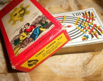 """70s Tarot Boxed Set """"1JJ Swiss Tarot Cards"""" Vintage French Title Fortune Telling Cards Made In Switzerland -Great For Use Or Craft"""