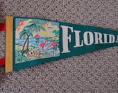 FLORIDA SOUVENIR PENNANT Vintage Collectible Felt Flag