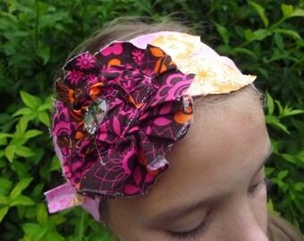 Shabby GiRaFfY Fabric Headband in Pink and Orange