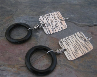 Black Onyx Rounds and Sterling Silver Earrings Handmade