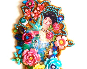 Inspired by Vintage Postcards - Brooch / Necklace
