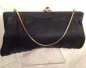 Vintage Clutch Midnight Black with Attached Coin Purse with Goldtone Hand Chain