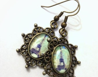 Antique Brass Vintage Frame Eiffel Tower Charm Earrings