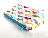 Colorful mustaches zippered pouch,make up purse,pencil case