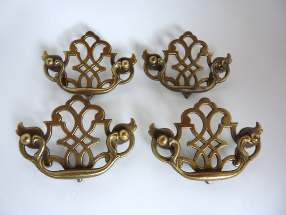 drawer pulls bail handle hardware antique brass finish ornate