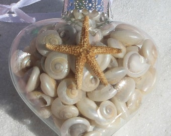 Shell Heart Ornament - White Shells