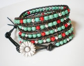 Turquoise Jewelry 5X Wrap Bracelet Turquoise and Red Gift Leather Beaded Bracelet