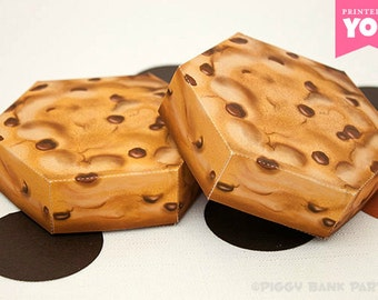 Cookie Favor Box : DIY Printable Chocolate Chip Biscuit PDF - Instant Download