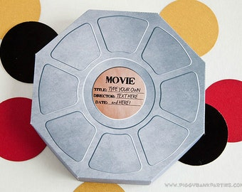 MOVIE REEL Favor Box : DIY Printable Hollywood Film Gift Box // Movie Night Favor // Premiere Party // Movie Star - Instant Download
