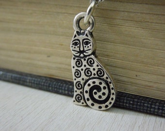 Cat Necklace - Small Antiqued Silver Pewter Spiral Kitty Cat Charm Necklace Delicate Silver Chain