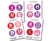 INSTANT DOWNLOAD - Printable Girl Color Pregnancy BUMP Stickers - Every 4 weeks and Bonus Set - Photo Prop