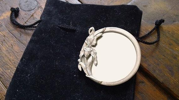 Vint. Art Nouveau MIRROR with velvet pouch