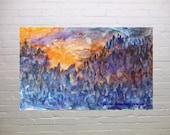 Dawn, Watercolour Mountainous Landscape, original painting, sunrise, home cottage decor, ET, Harry Potter, gift giving, blue, purple, orange