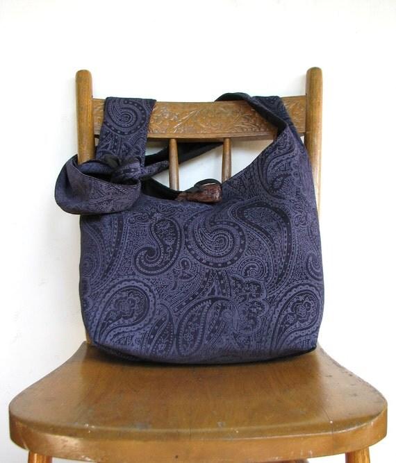 BOHO BAG Paisley Bag Crossbody Bag Navy Bag Hippie Bag Slouch Bag Hobo Purse Vegan Bag Bohemian Bag Hobo Bag Hippie Purse