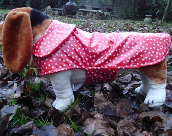 Red and White Polka Dot Raincoat with Red Fleece Lining - Size Medium