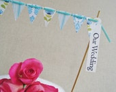Tilda Cake bunting - beautiful blue and green cardstock Choose you own greeting Perfect for weddings & Christenings MADE TO ORDER