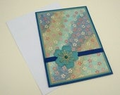 Teal Blue and Green Floral Customizable Japanese Washi Greeting Card Blank Inside- You Choose Sentiment on Front
