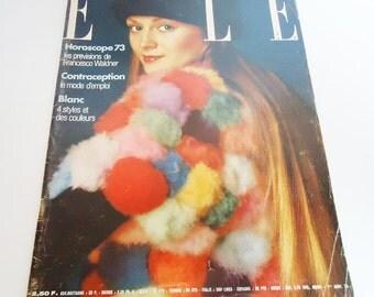Elle  Vintage Magazine. 1973.Paris.France