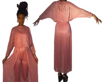 SOLD Not For Sale Do Not Purchase Vintage 2pc Strappy Pink Grecian Disco Strappy Jumpsuit w/ Sheer Dolman Sleeve Cover-up Dress