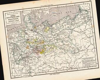 1873 Antique map of  NORTH GERMANY And PRUSSIA from Justus Perthes, Holstein, Mecklenburg, Hanover, Brandenburg, oldenburg, original antique