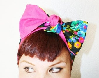 Vintage Inspired Head Scarf, Made from Vintage Fabric, Floral Print, Hot Pink