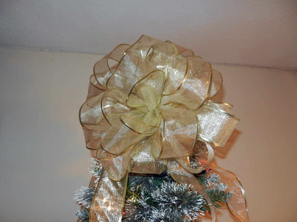 Large Sheer Shimmery Gold Ribbon Christmas Tree Topper Bow 6