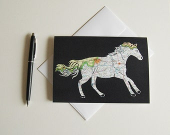 Louisville Horse Map Card // Printed From an Original Papercut // 5x7 Notecard Art