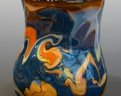 Wine Cup Blown Glass Blue Orange White Tan artist signed George Watson