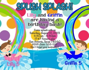 Pool Party Birthday Invitation - Printable or Printed for Twins and Siblings - Boy Girl Pool Party