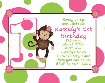 Monkey Birthday Invitation Pink and Green Monkey 1st Birthday Invitations