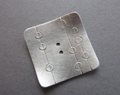 Retro Mod Square Button silvertone metal 1 inch artisan handmade