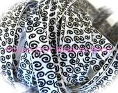 Wonkie Swirls Glitter Grograin ribbon 5 yards- 3/8 inch White/Black Sparkle Swirls hair bow craft trim ribbon