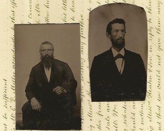 Antique Photo Tintype Tin Type Late 1800's MEN with Beards Lot of 2