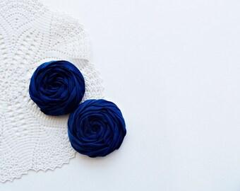 Navy Fabric Roses Handmade Appliques Embellishment Set of 2